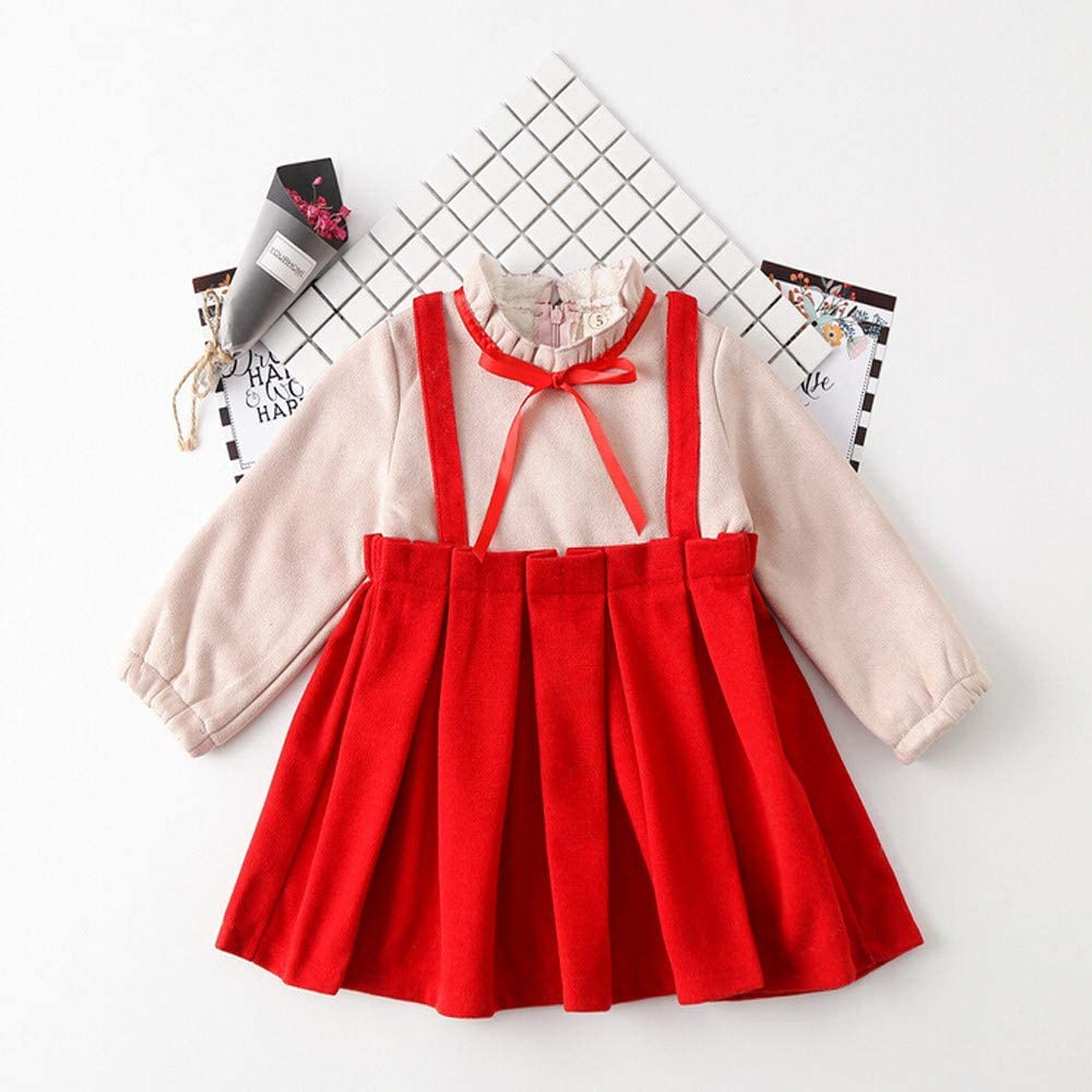 Naladoo Toddler Baby Girl Fake Two-Piece Bow Tie Princess Party Casual Dress