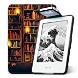 Young Me All New Kindle E-reader Rechargeable Led Light and Auto Wake/Sleep and Hand Strap Leather Cover/Case for Kindle 2016 6 inch 8th generation( Not Fit Kindle Paperwhite) Bookcase