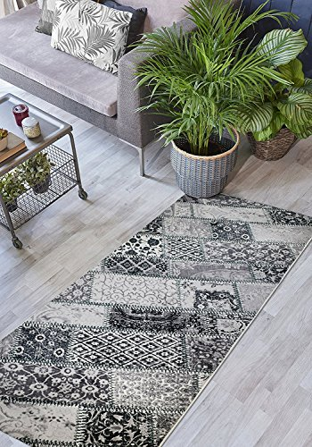 ORFA HOME Custom Size Hallway Runner Rug, Slip Resistant, 31 inch Wide X Your Choice of Length, Patchwork, Black, 31 inch X 13 feet (13' Stripes)