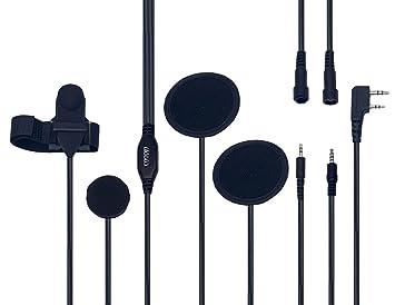 Coodio Kenwood BaoFeng Radio Casco Auriculares [Casco Integral] Micro-Auricular Micrófono Altavoz [