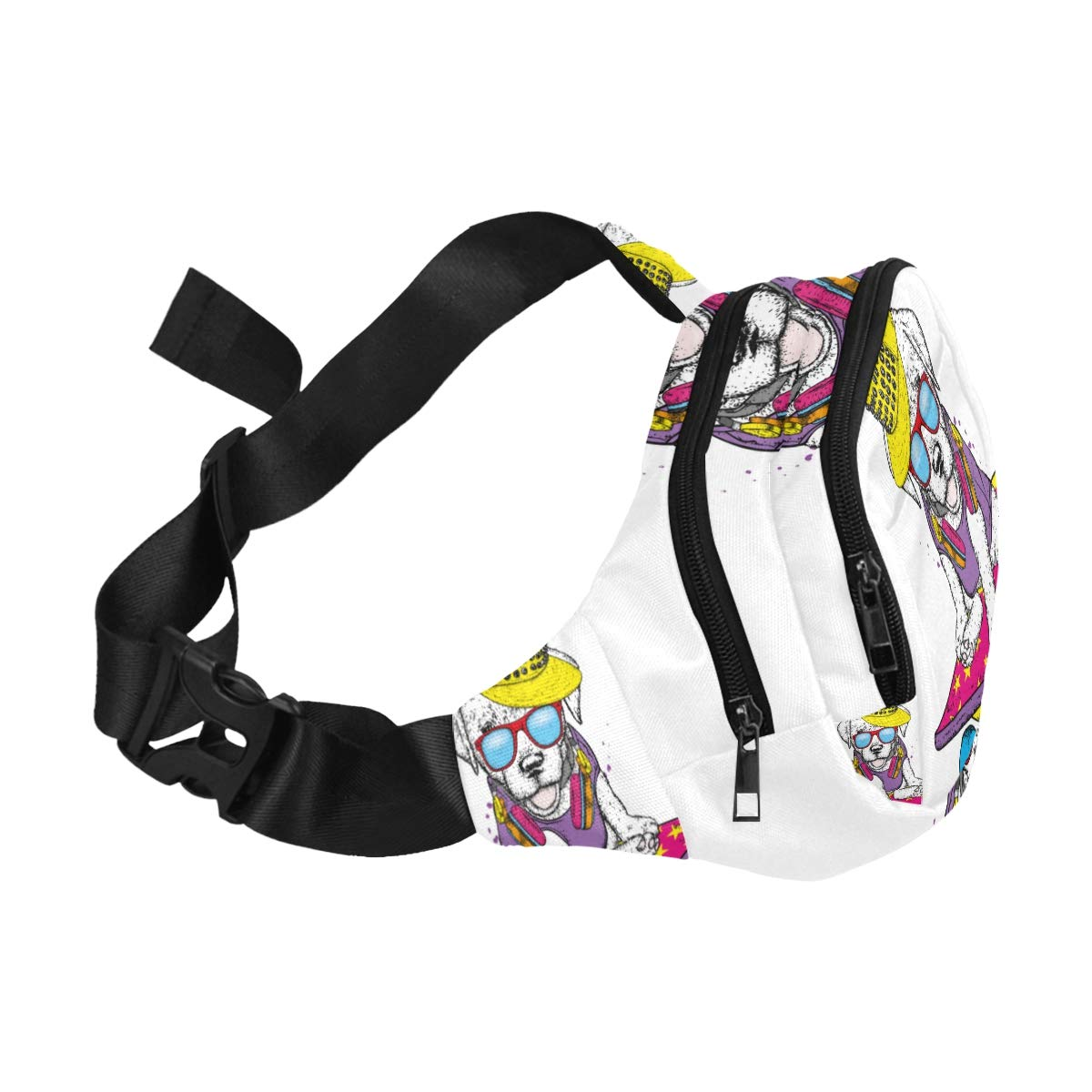 The Cute Dog Rides On A Skateboard Fenny Packs Waist Bags Adjustable Belt Waterproof Nylon Travel Running Sport Vacation Party For Men Women Boys Girls Kids