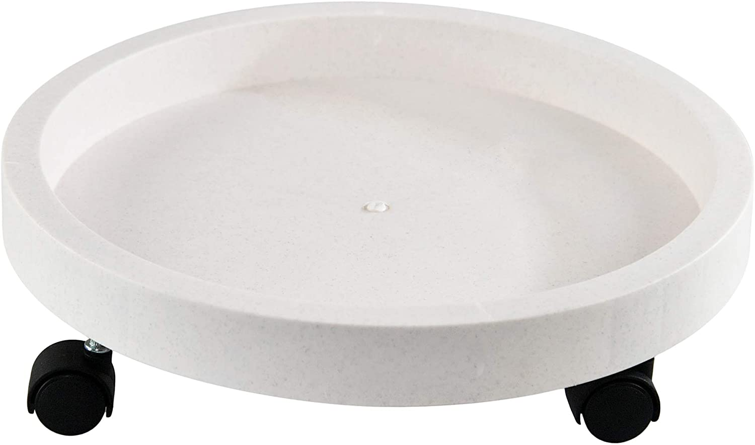 """Home-X Large Plant Caddy with Wheels and Sturdy Rim to Keep Potted Plants Secure, Rolling Planter Tray for Indoor and Outdoor Use, 15"""" D x 3"""" H, White"""