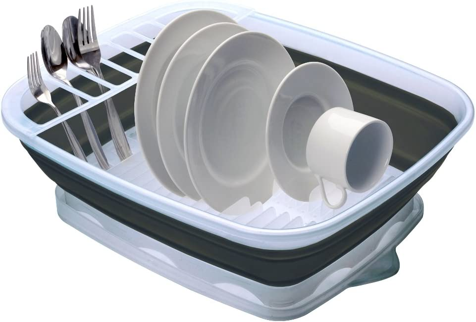Perfect For RV Sink Camping Dish Tub CDD-100 Prepworks by Progressive Collapsible Dish Rack with Drain Board