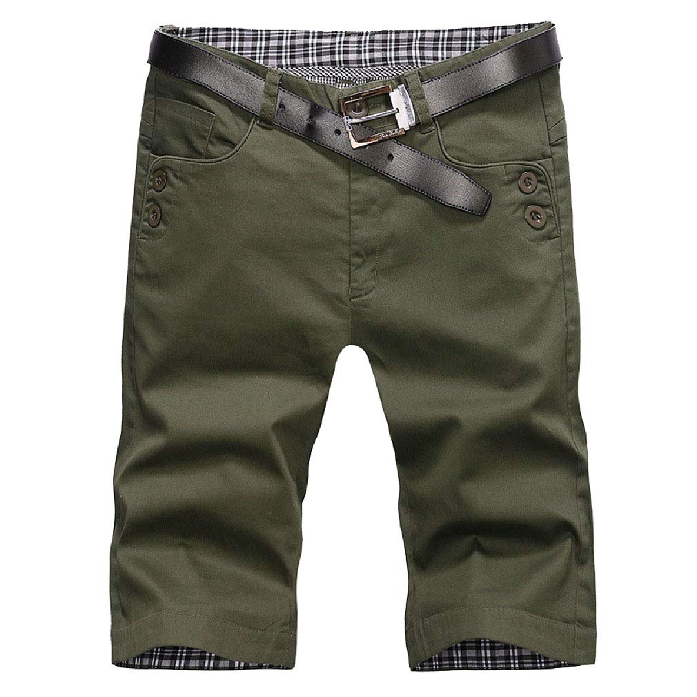Abetteric Mens Beach Summer Casual Loose Fit Cotton Middle Waist Half Pants