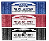 Dr. Bronner's All-One Toothpaste Variety Pack - Peppermint, Cinnamon, Anise - 5-Ounce Tube Of Each (3 Tubes Total)