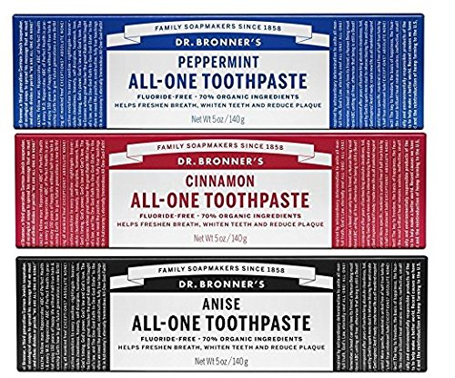 Dr. Bronner's All-One Toothpaste Variety Pack - Peppermint, Cinnamon, Anise - 5-Ounce Tube Of Each (3 Tubes Total) by Dr. Bronner's