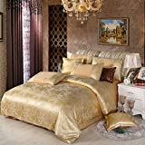 EEvER Reversible Bed Covers Coverlet Continental cotton jacquard bedding four-piece suit silk cotton double bedspreads linen cov pillowcase, golden, 220 * 240cm