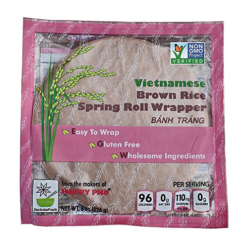 - Star Anise Foods - NON GMO Gluten Free Vietnamese Brown Rice Spring Roll Wrapper - 8 oz / 8 Servings per box, Pack of 6 boxes