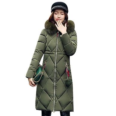 f09e9304053 XWDA Parka Women Long Puffer Jacket Winter Lightweight Hooded Coat With Fur  Hood