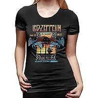Women's Classic-Fit Short-Sleeve Led Zeppelin T-Shirt Basic Short Sleeve T Shirts Crewneck Tee Shirt Tops Trendy Black