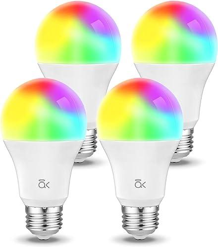Smart Light Bulb, Works with Alexa, Echo, Google Home and Siri, AL Abovelights Dimmable E26 9W Wi-Fi LED Smart Bulb, Warm White 2700K , 60W Equivalent, 810 LM, RGB W, ETL Listed – 4 Packs