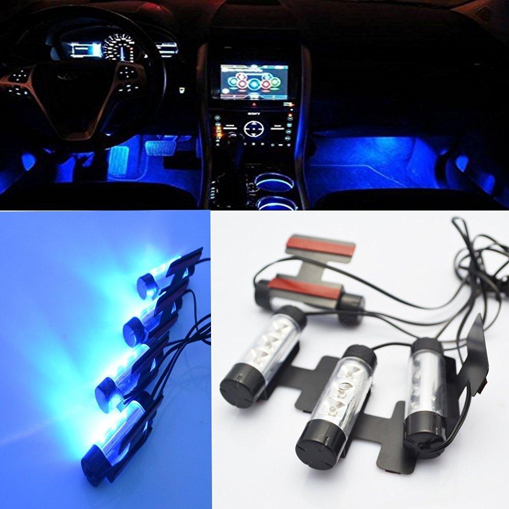 KaTur alta qualit/à blu 4/in1/12/V 4/x LED auto piede auto interno luce decorativa atmosfera della lampadina