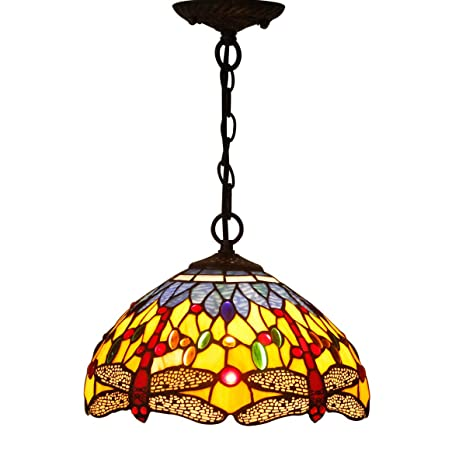 Tiffany Hanging Lamp Crystal Bead Dragonfly 12 Inch Sea Blue Stained ...