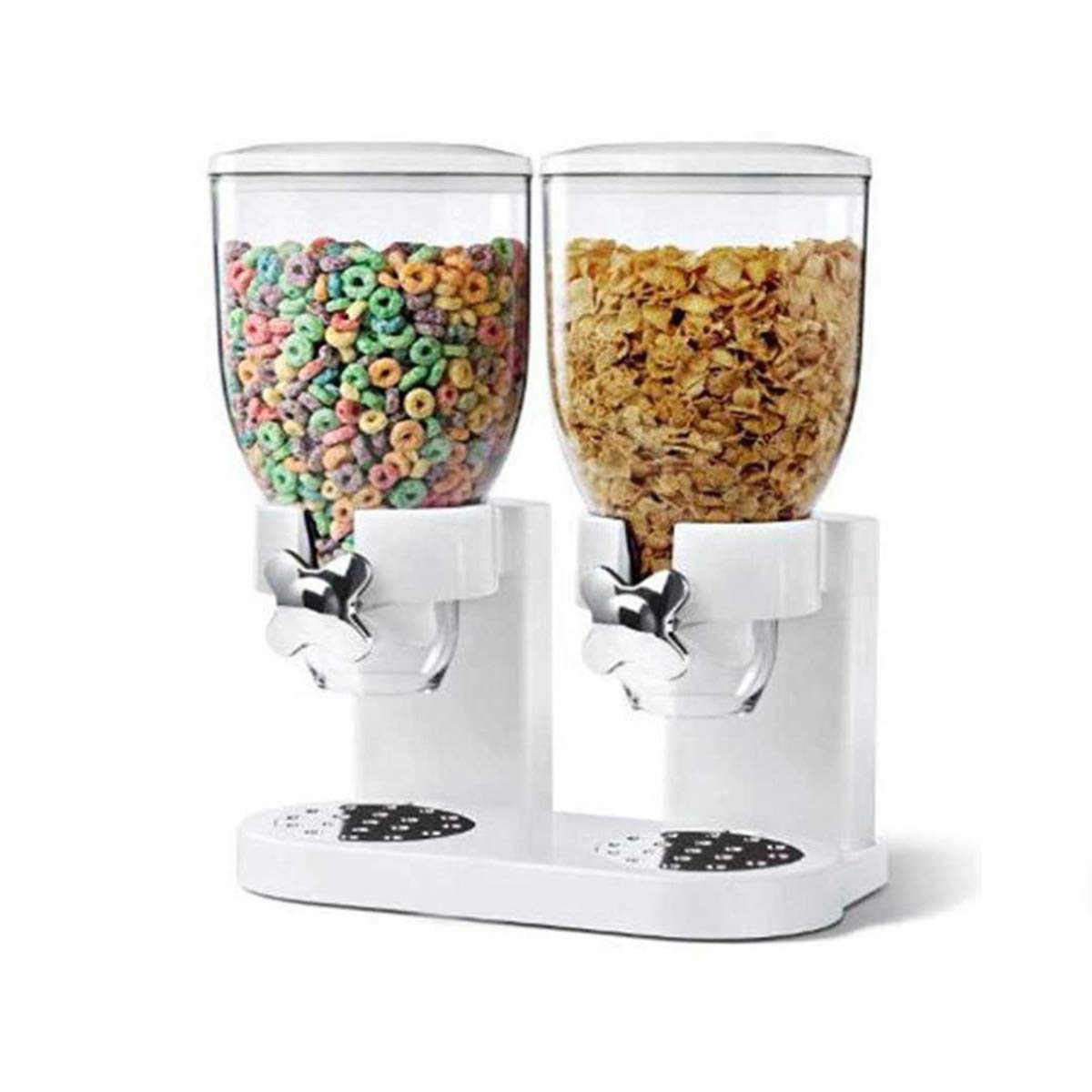 LYEJM Double Cereal Dry Food Dispenser Kitchen Storage Container Kitchen Dry Provisions Dispense Machine LYEJM (Color : Color White)