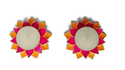 O2 Silver Plated Diya / Chowki U2013 Set Of 2 Double Lotus Candle Pink U0026 Yellow
