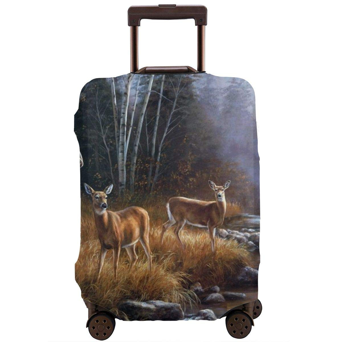 Luggage Cover Rustic Animal World Wildlife River Edge Deers Protective Travel Trunk Case Elastic Luggage Suitcase Protector Cover