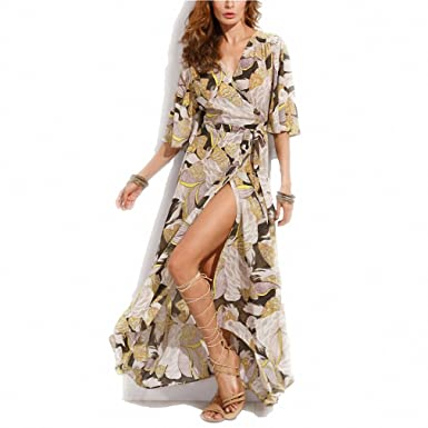 Floral Printed Maxi Dress Women Loose Wrap Tie Waist Casual Summer Dresses Long Ladies Butterfly Vestidos