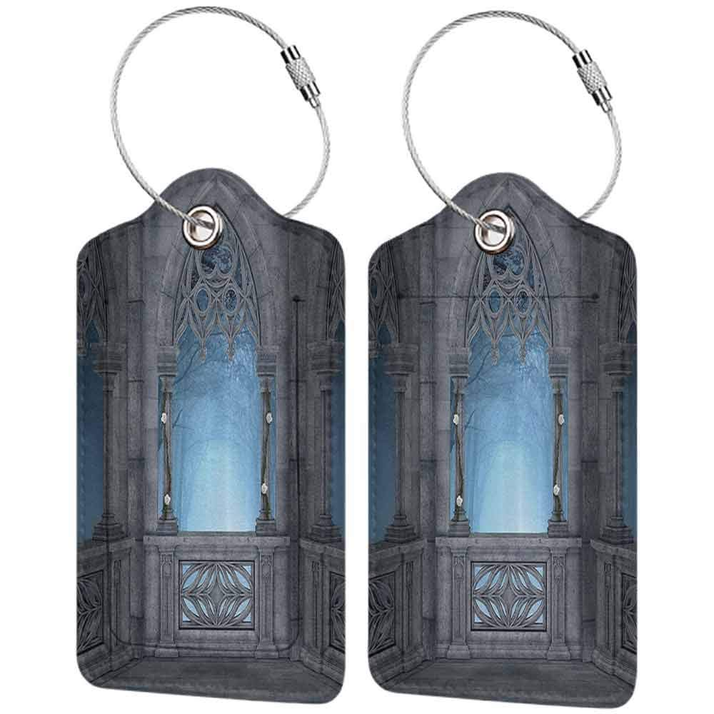 Decorative luggage tag Fairytale Fantasy World Castle Architecture Details Terrace Gazebo Indoor Foggy Forest Suitable for travel Grey Light Blue W2.7 x L4.6