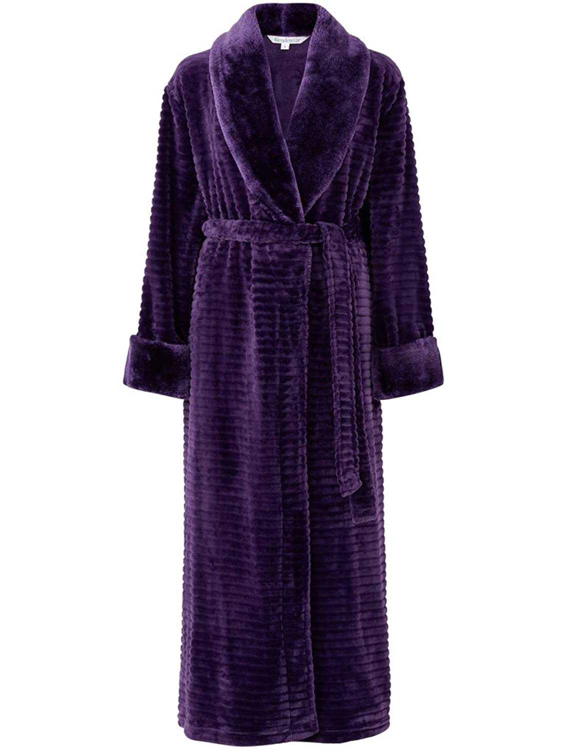 "Slenderella Purple 52"" Long Sleeve Faux Fur Robe HC6342"