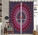 Textile & Craft House Mandala Decorative Curtain, Indian Cotton Door Cover Drape Portiere Room Curtains By (Style-3)