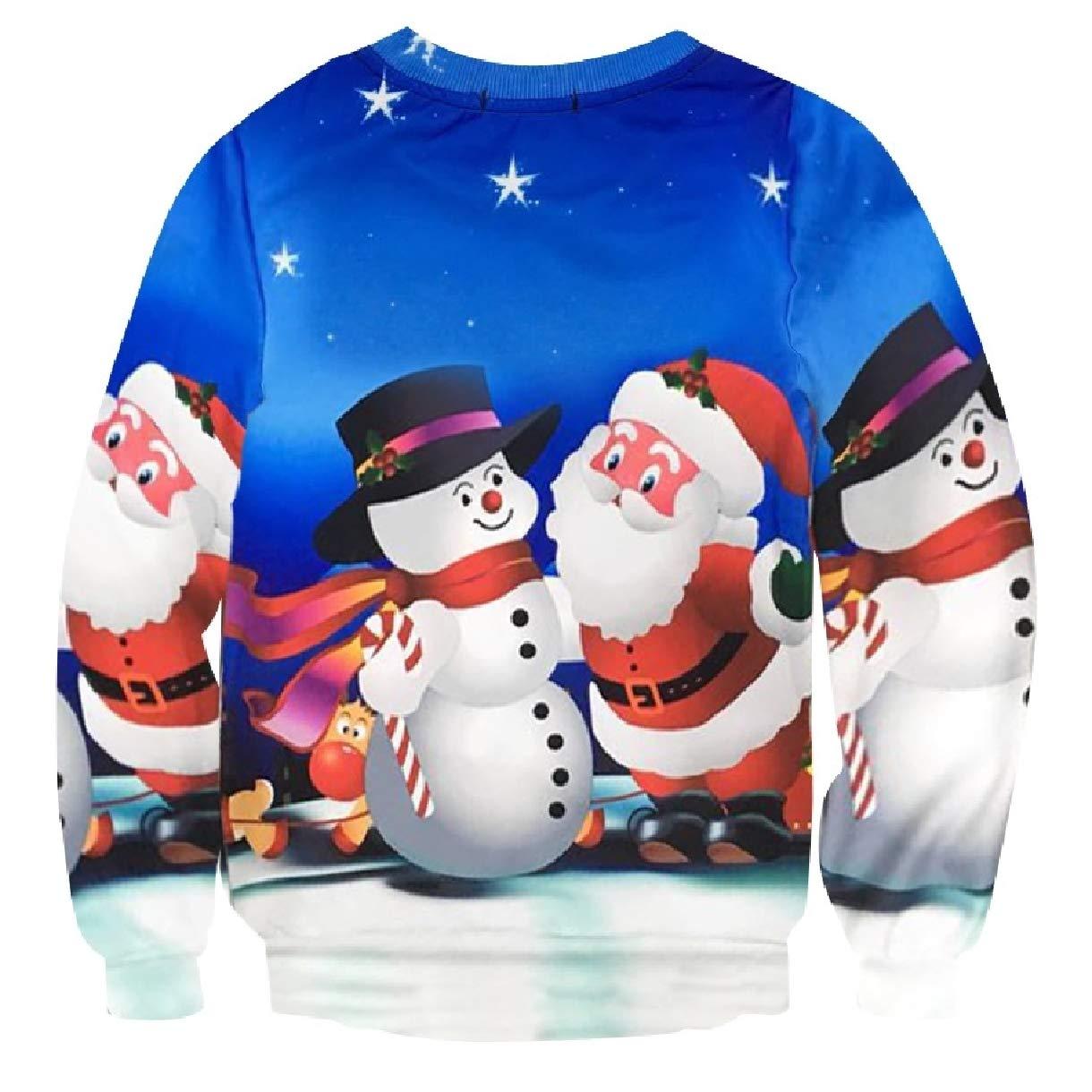 Highisa Mens Fall Winter Plus-Size Christmas Xmas Crew Neck Sweatshirts