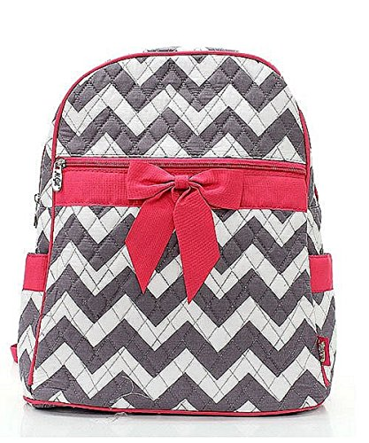 Chevron Stripe Quilted Backpack Handbag with Bow Accent Hot Pink & Grey