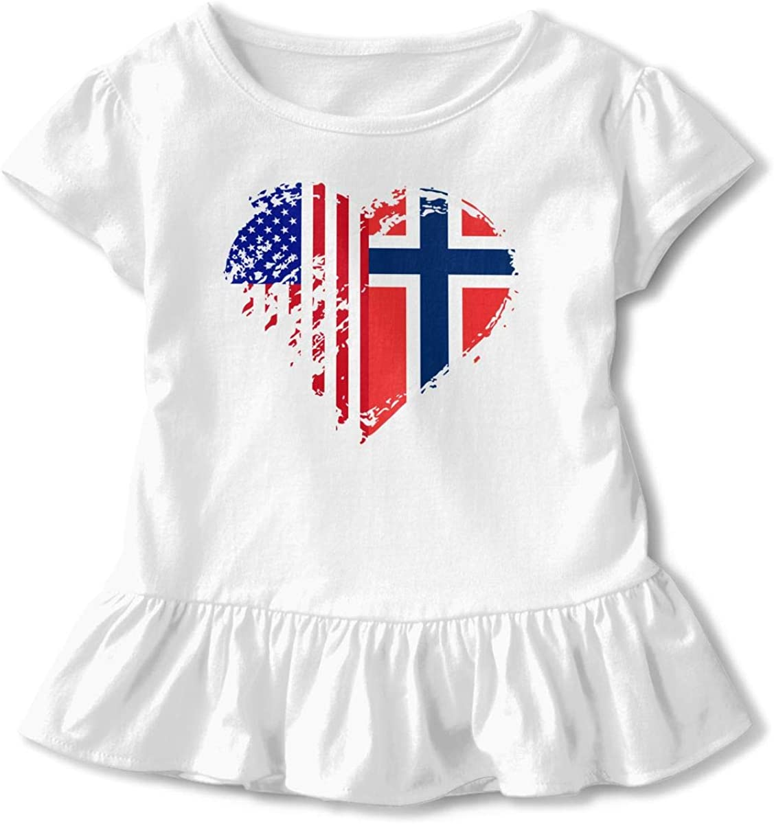 26NSHIRT Grungy Norway American Flag Heart Kids Baby Girls Short Sleeve Graphic Tee