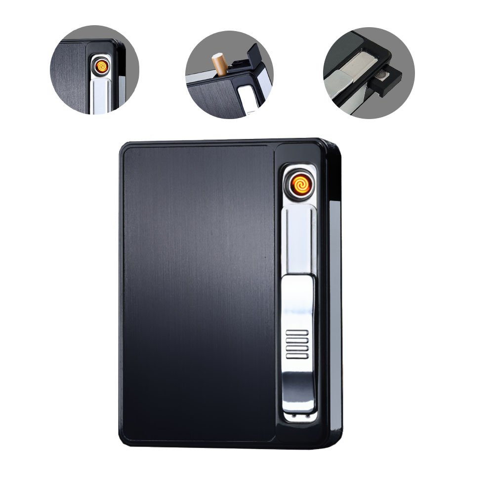 Cigarette Case/Cigarette Holder/Cigarette Box with Electric Lighter Rechargeable, Flameless, Windproof