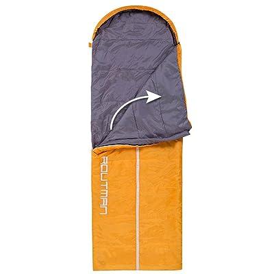 COCO Double sac de couchage en plein air automne hiver adulte coton épaissir garder au chaud Camping ultra-léger portable ( Couleur : Right Orange , taille : 1.35KG )