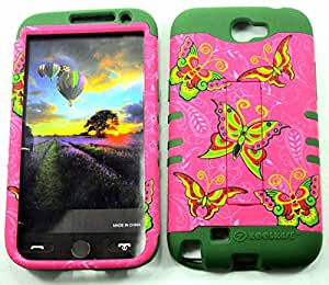 SAMSUNG GALAXY NOTE 2 CASE BUTTERFLIES DG-TE587 HEAVY DUTY HIGH IMPACT HYBRID COVER ARMY GREEN SILICONE SKIN I317