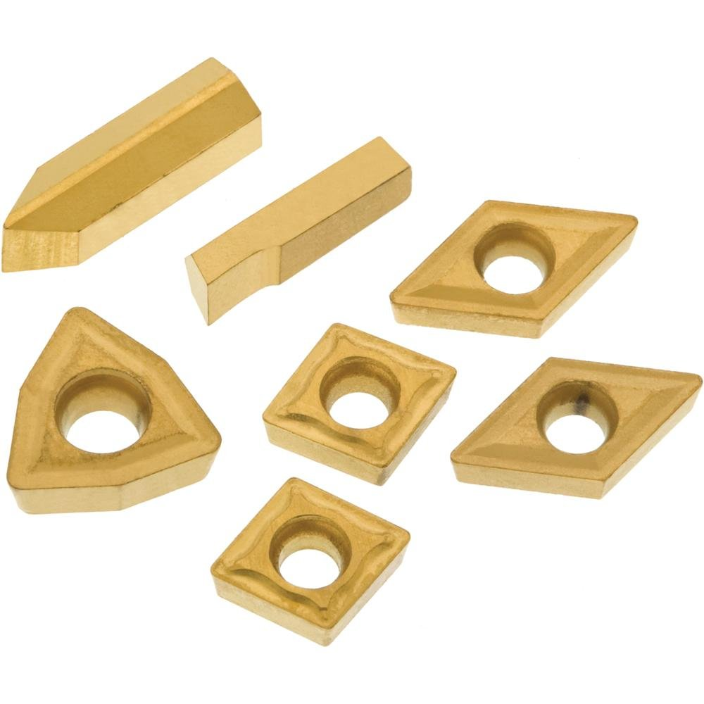 Grizzly T23900 P10 TiN Insert Set (7) for T10293, Machined Stee Length