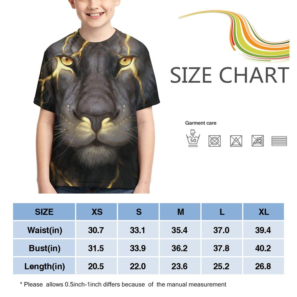 AMODECO Lightning Lion 3D Printed Tee T-Shirt for Youth Teenager Boys Girls