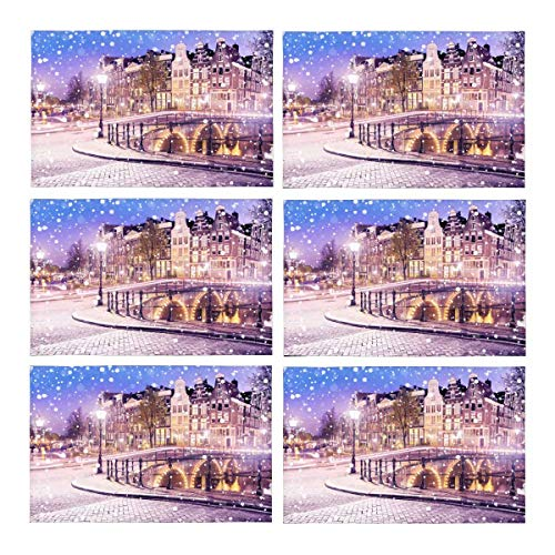 InterestPrint European Cityscape Dutch Old Houses and Bridges On Snowy Winter Night Washable Polyester Fabric Placemats for Dining Room Kitchen Table Decoration, 12 x 18 Inches Place Mats Set of ()