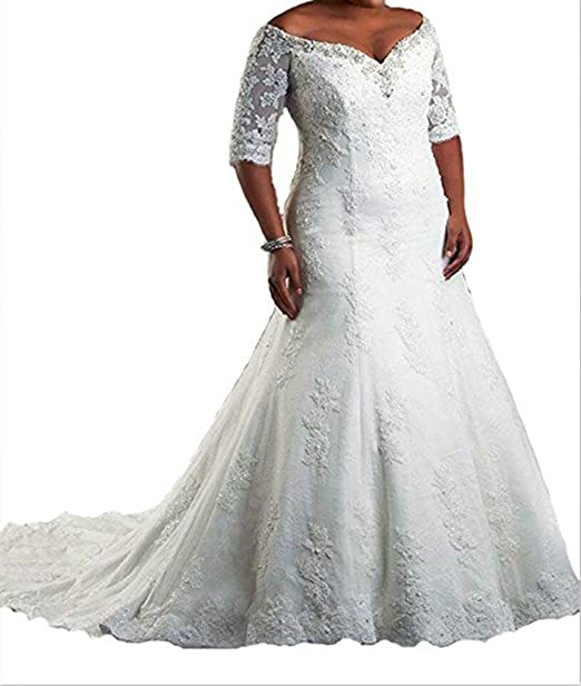 WeddingDazzle Women\'s Plus Size Half Sleeve Lace Train Wedding Dresses  Bridal Dress