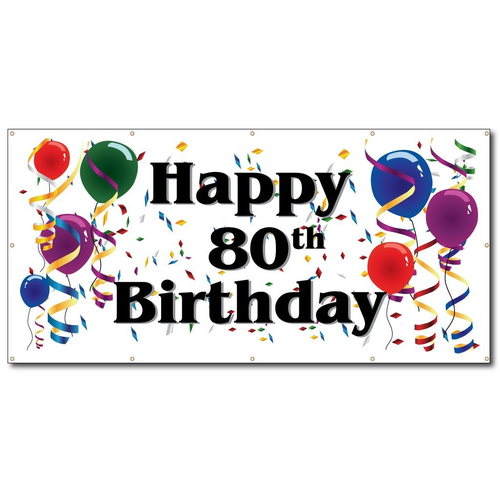 VictoryStore Yard Sign Outdoor Lawn Decorations: Happy 80th Birthday Vinyl Banner, Size 3' x 6'