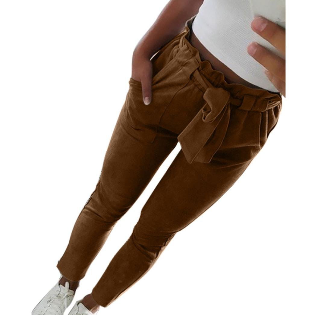 Vanvler Women Harem Pants High Waist, Lady Casual Trousers Bowtie Striped Leggings (XL, Coffee) by Vanvler
