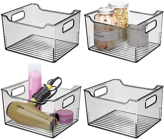 Gris Humo Ideales Cajas organizadoras para Guardar cosm/éticos en el ba/ño Organizador Transparente con dise/ño Atractivo mDesign Cajas de pl/ástico con Asas