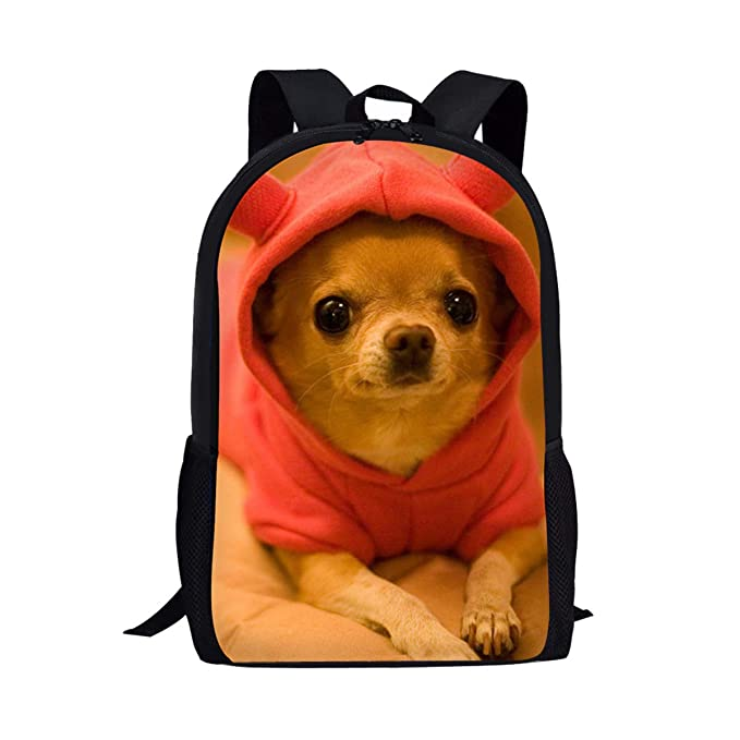 18a5a8f0ae71 Kids Book Bags Lovely Chihuahua Dog Print Lightweight Backpack for Teen  Girls Back to School
