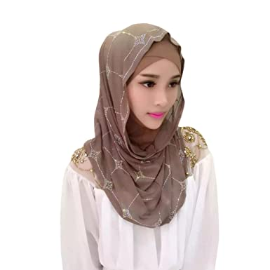 Haodasi Muslim Frau Middle East Kristall Bohrer Splei/ßen Hut Kopftuch Islamic Hijab