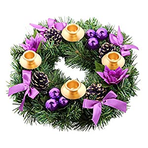 Purple Ribbon Christmas Advent Wreath. For Advent Calendar Season Candle Deocr and X-mas Candles Decorations 64