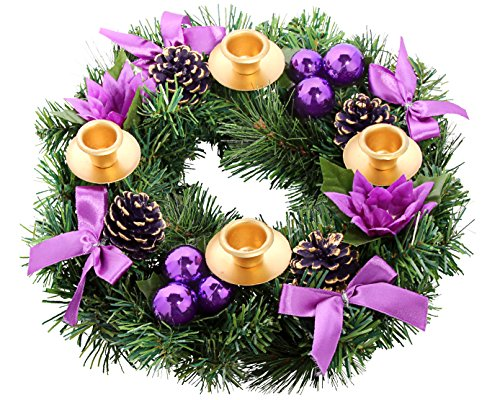 Purple Ribbon Christmas Advent Wreath. For Advent Calendar Season Candle Deocr and X-mas Candles Decorations (Christmas Purple Wreath)