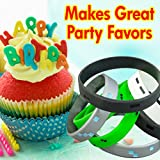 Pixellated Video Game Style Silicone Wristbands - 8 Pack Party Favor Set (2 of each design)