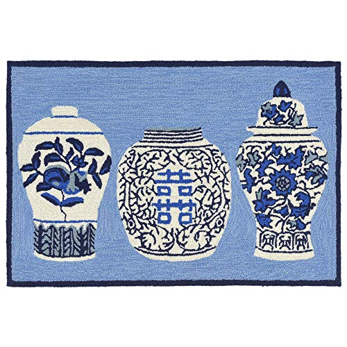 - Liora Manne FTP23241003 Front Porch Ginger Jars 2' X 3', Blue