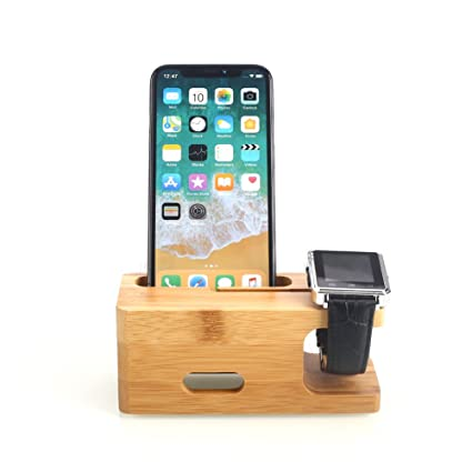 online store 07c38 3d19c Amazon.com: Hanbaili For Apple Watch/iPhone Stand Wooden Charging ...