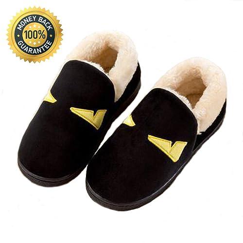 Vaqm Winter Slippers Women Memory Foam Slippers Unisex House Shoes Suede Fleece Lined Slippers Indoor Outdoor