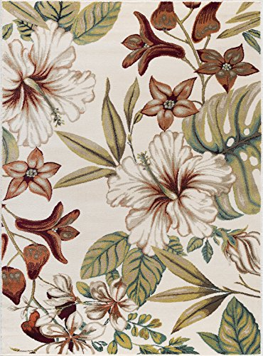 (Tracy Transitional Floral Ivory Rectangle Area Rug, 5' x 7')