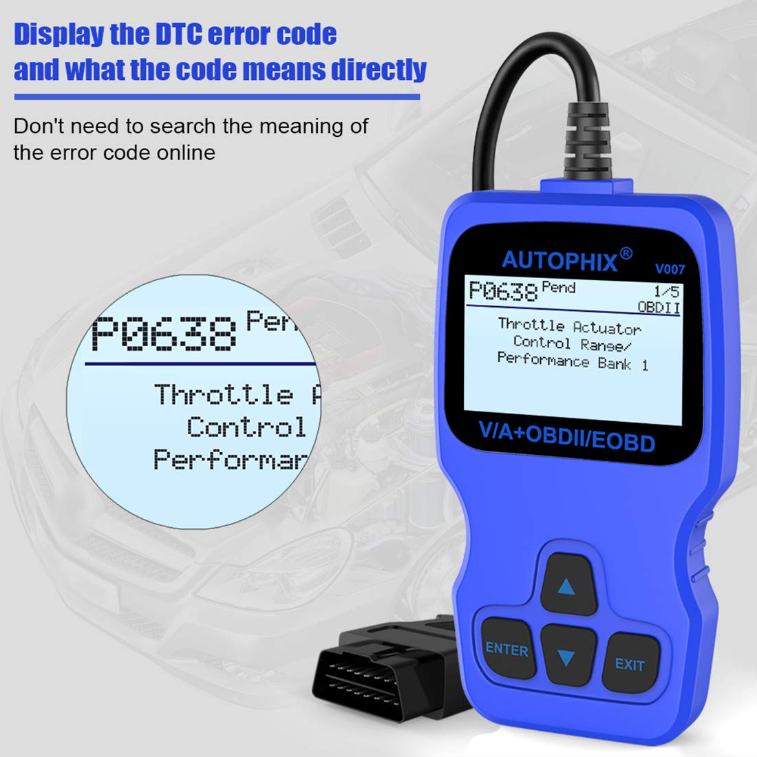 AUTOPHIX V007 OBDII OBD2 Scanner for Volkswagen VW Audi Skoda Seat, Diagnostic Scanner Transmission EPB ABS SRS Check Engine Error Code Reader TP Position Oil Service & Brake Pad Reset Tool by AUTOPHIX (Image #9)