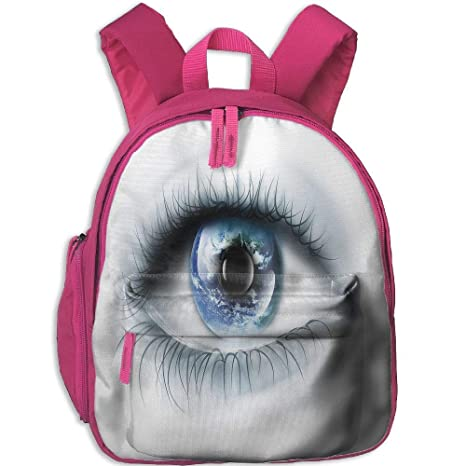Kid Boys&Girls Backpack with Pocket Eye Planet Earth Reflected in Vivid Eye Universe