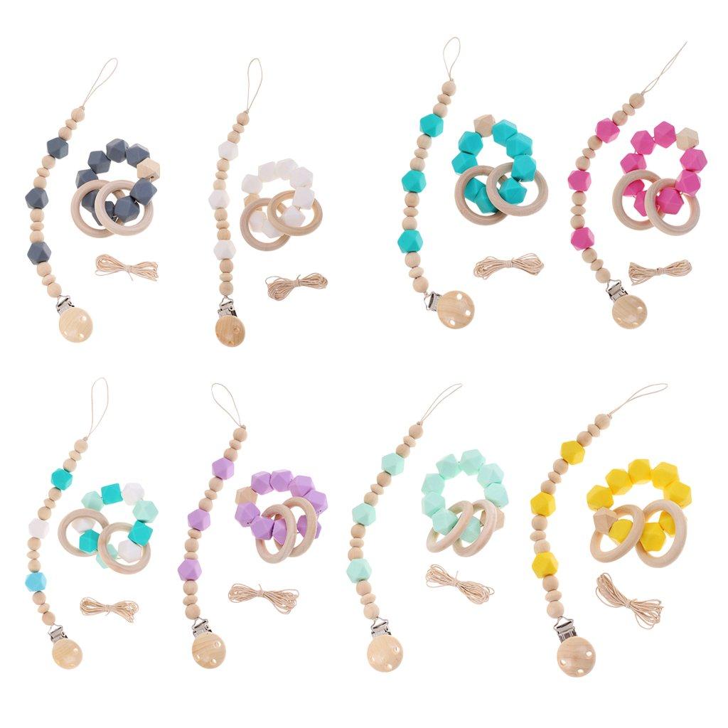 Gazechimp 8Pcs Baby Teether Perlen Silikon Schnuller Krankenpflege Kette Und Armband