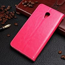 MEIZU MX 5 Leather Case, Solid Color Stand Case with Wallet Function Flip Case Cover PU Leather Case for Meizu MX 5 ( Color : Red-MEIZU MX5 )